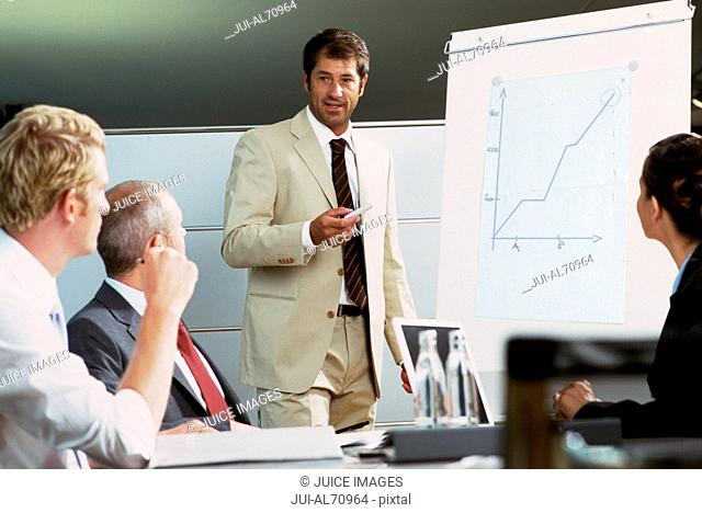 View of a businessman making a presentation at a meeting