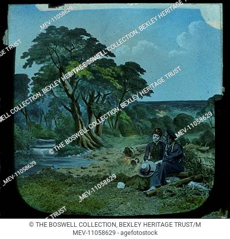 Level Crossing 1 - two men sitting on log talking trees in B/G. Part of Box 52 Boswell collection. Nursery Rhymes