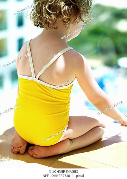 Girl in a yellow bathing suit, Portugal