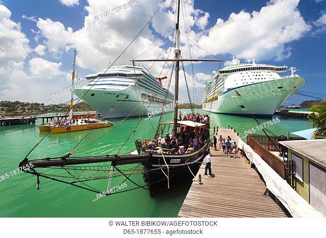 Antigua and Barbuda, Antigua, St  Johns, Heritage Quay, Cruiseship terminal with party boats, NR