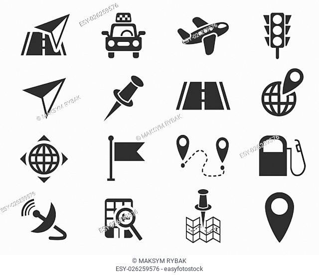 navigation ransport map web icons for user interface design