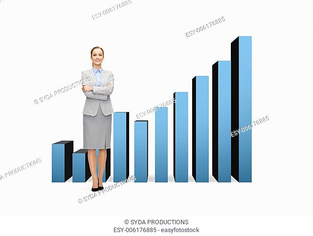 business and education concept - friendly young smiling businesswoman with crossed arms with growing chart on the back
