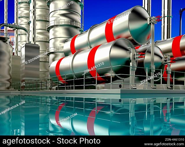 Modern refinery with blue sky