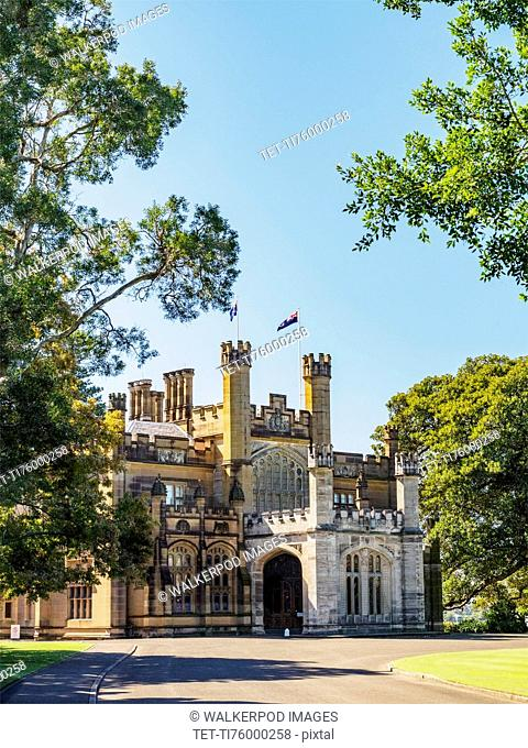 Australia, New South Wales, Sydney, Facade of old building with Australian flag