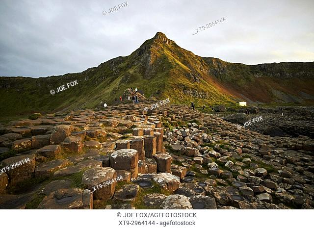 winter overcast evening at the Giants Causeway county antrim northern ireland uk