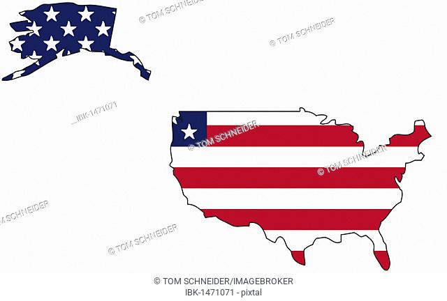 USA, flag outline