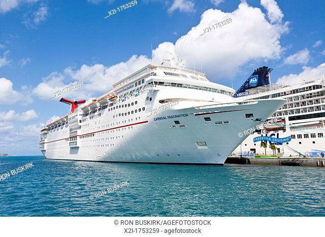 Carnival Fascination cruise ship at dock in Nassau, Bahamas