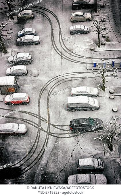 patterns created by cars in fresh snow in seen from above, Geneva, Switzerland, Europe