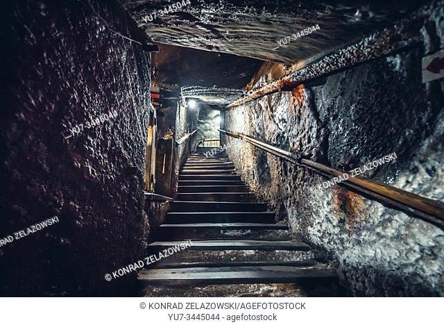 Inside the salt mine in Cacica (Polish Kaczyka) village located in Suceava County, Bukovina region in Romania