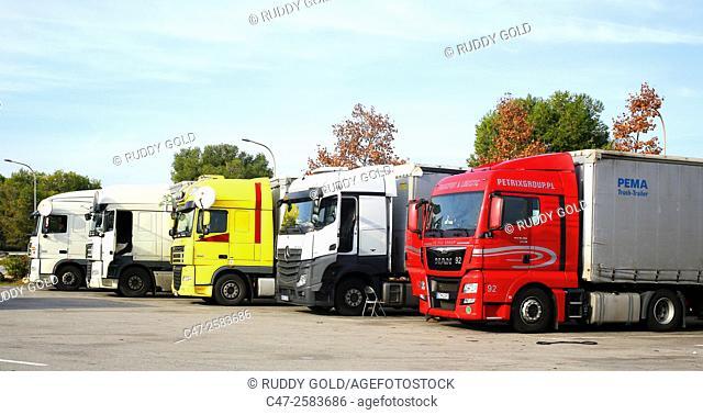 Trucks in parking lot of a rest area. Catalonia. Spain