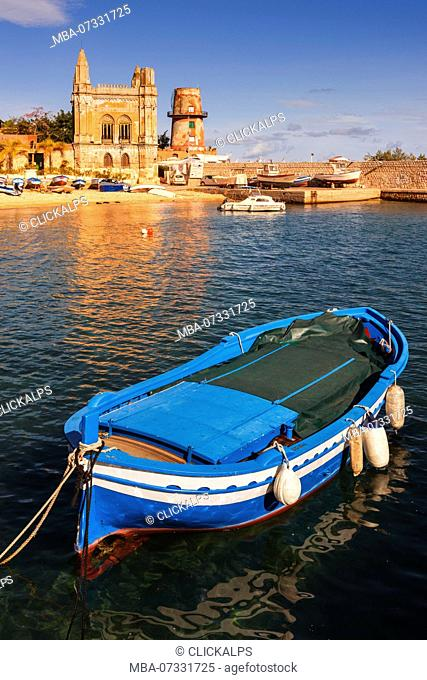 Tuna Florio at the Arenella - Vergine Maria small seaport at sunset Europe, Italy, Sicily region, Palermo district, Arenella seaport