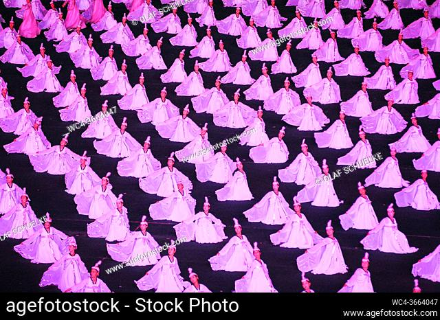 Pyongyang, North Korea, Asia - Mass choreography and Artistic Performance with dancers and acrobats at the May Day Stadium during the Arirang Mass Games...