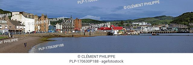 Shops, hotels and restaurants along the North Pier in the harbour of Oban, Argyll and Bute, Scotland