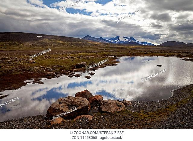 Hochland mit dem Berg Snæfell, Ostisland, Island, Europa