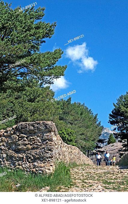 Way to the sanctuary of Santa Maria de Lord. Solsones, Lleida province, Catalonia, Spain