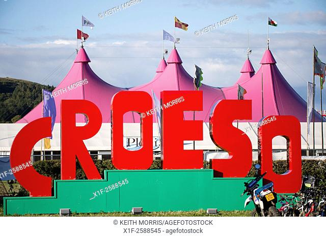 'Croeso', welcome sign, The National Eisteddfod of Wales , held near Meifod village in Powys, mid Wales, August 2015