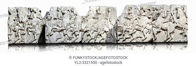 Marble Releif Sculptures from the frieze around the Parthenon Block XXXVII to XLI 100 to 114 . From the Parthenon of the Acropolis Athens