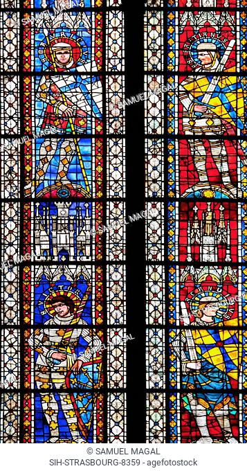 A stained glass window, depicting Theban legion's saint warriors from left to right, clockwise: Saint Mauricius, Saint Sebastianus