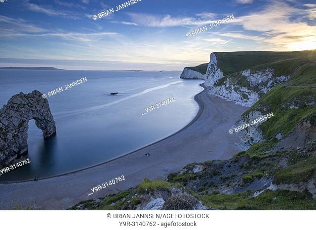Twilight over Durdle Door and the Jurassic Coast, Dorset, England