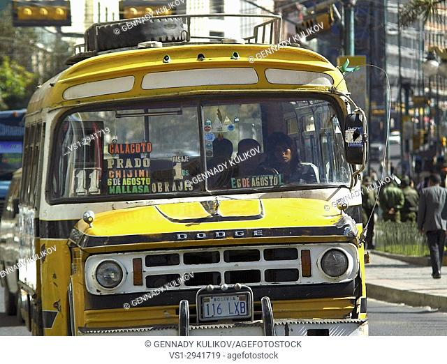 Old US school buses are used as public buses in Bolivian capital of La Paz
