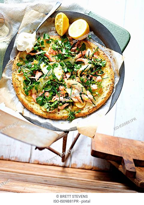 Smoked trout salad pizza , elevated view