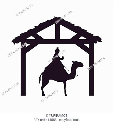 magi king man riding a camel. nativity silhouette design. vector illustration