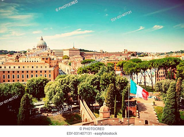 Vatican City. St. Peter's Basilica and Vatican museums. View from Castel Sant'Angelo. Italian flag waving. Vintage