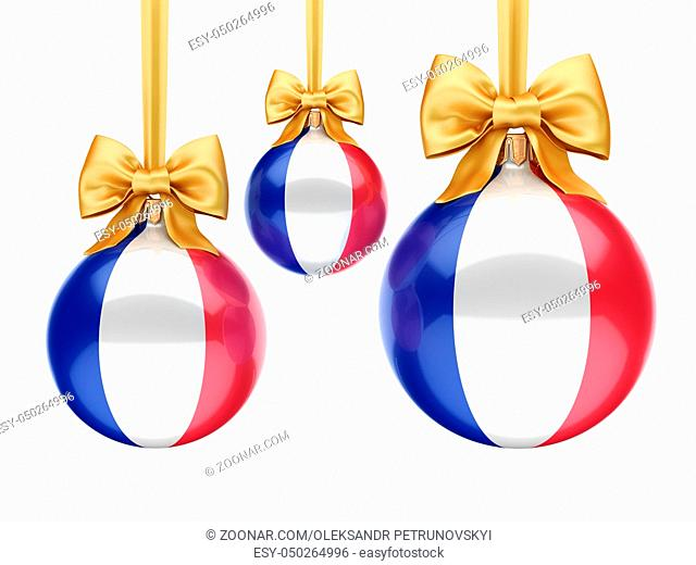 3D rendering Christmas ball decorated with the flag of France