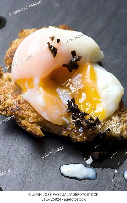 Bread with egg and truffle at restaurant Solla by chef Pepe Solla, Poio. Pontevedra province, Galicia, Spain