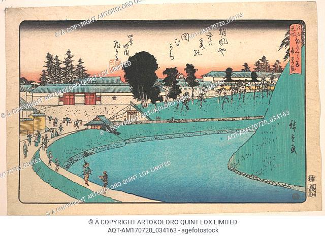 江戸名所 外桜田弁慶堀, Soto Sakurada Benkei Bori, Edo period (1615–1868), ca. 1843, Japan, Polychrome woodblock print; ink and color on paper