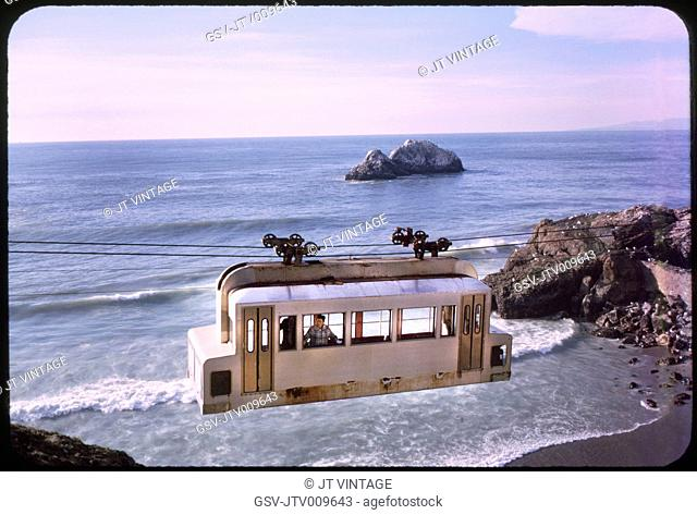 Sky Tram, Ocean Beach, San Francisco, California, USA, 1964