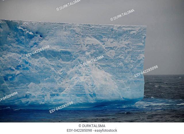 A large tabular iceberg floating in the southern atlantic ocean, near Antarctica