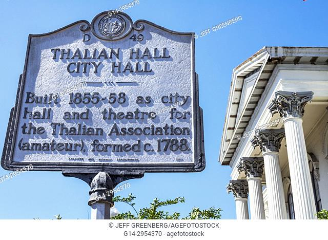 North Carolina, NC, Wilmington, North 3rd Street, historic district, Thalian Hall Center for the Performing Arts, theatre, theater, marker, sign