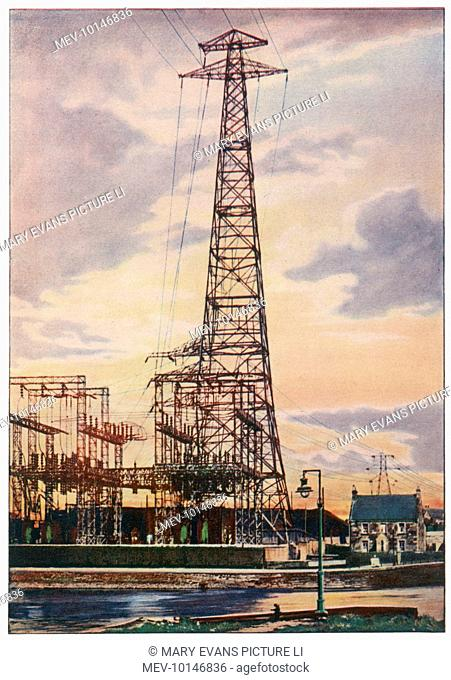 Part of Britain's National Grid, this is the sub-station at Yoker, near Glasgow, Scotland. The tower is 90 metres tall and carries the lines across the Clyde
