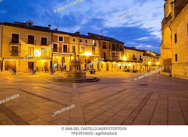 Cathedral by dusk in Burgo de Osma village Soria province Castile Leon Spain on June 11, 2017