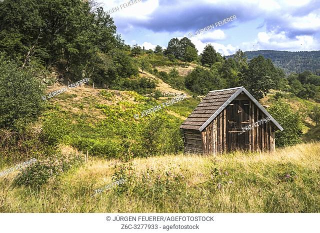 typical hay hut of the village Forbach, Northern Black Forest, Germany, at the hiking trail goat path