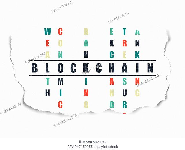 Money concept: Painted black word Blockchain in solving Crossword Puzzle on Torn Paper background