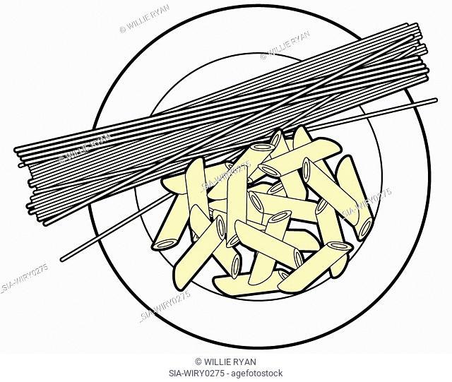 Row pasta on plate