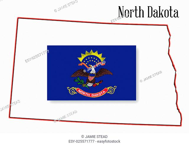 Outline of the state of North Dakota isolated with inset flag
