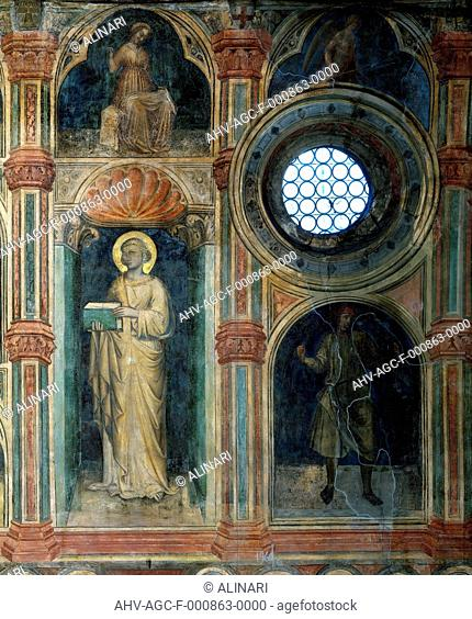 Detail of the frescoes of the cycle which decorates the Salone of Palazzo della Ragione in Padua. The complex work of Giottesque School depicts 'The life of man...