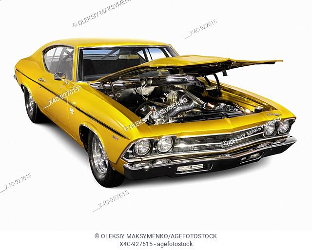 Custom 1972 Chevrolet Chevelle SS Coupe drag car with open hood revealing powerful engine  Isolated with clipping path on white background
