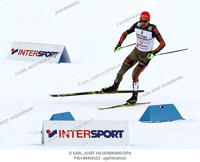 Johannes Rydzek from Germany in action during the single combination event normal hill/10 km during the FIS Nordic World Ski Championships 2017 in Lahti