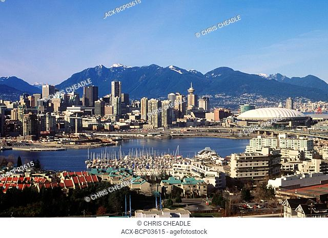 View of false creek and downtown, Vancouver, British Columbia, Canada