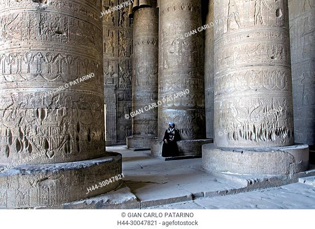 Dendera Egypt, temple dedicated to the goddess Hathor. View of the hypostyle hall
