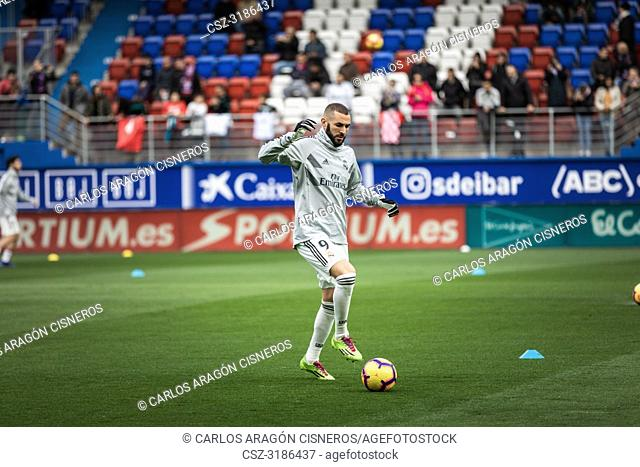 Karim Benzema, Real Madrid player in the preheating before the La Liga match between Eibar and Real Madrid CF at Ipurua Stadium on November 24, 2018 in Eibar