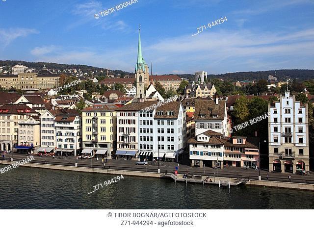 Switzerland, Zurich, skyline, general view, Limmat Quai