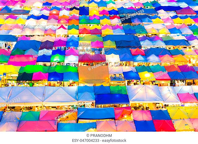 Multiple colour weekend market roof top