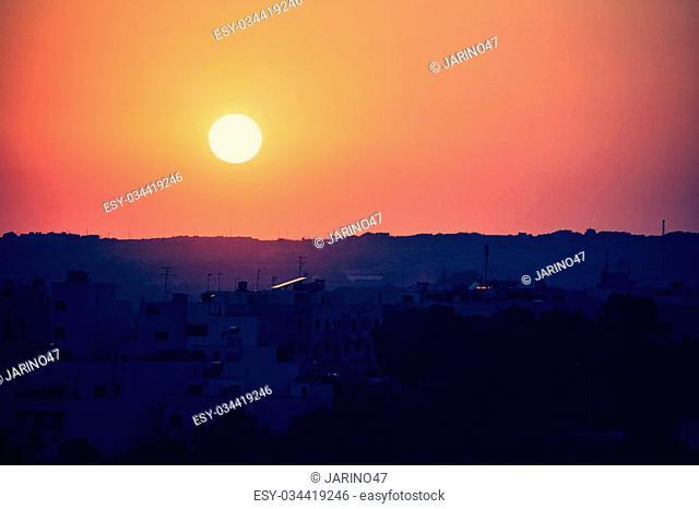 Beautiful sunset at Mdina, Malta