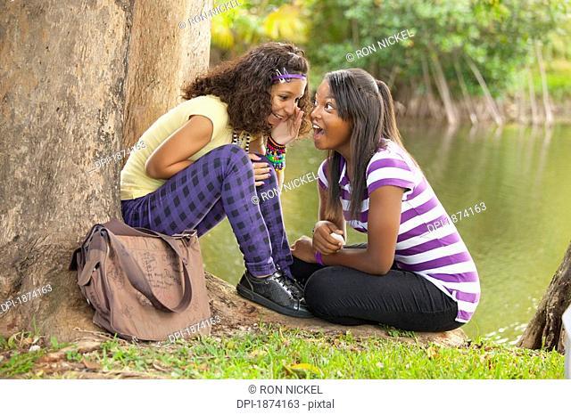 fort lauderdale, florida, united states of america, two teenage girls telling secrets