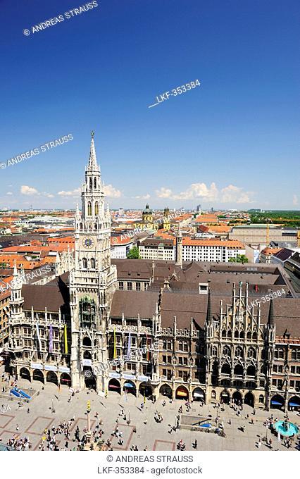 View to city of Munich with place Marienplatz, town hall Neues Rathaus and church Theatinerkirche, Munich, Upper Bavaria, Bavaria, Germany, Europe